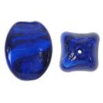 Wewnętrznie skręcone koraliki szklane, Lampwork, Owal, niebieski, 17x24mm, otwór:około 2mm, 100komputery/torba, sprzedane przez torba