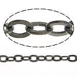 Brass Oval Chain, plumbum black color plated, nickel, lead & cadmium free, 2x1.50x0.20mm, Length:100 m, Sold By Lot