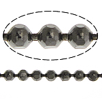 Brass Ball Chain, plumbum black color plated, faceted, nickel, lead & cadmium free, 1.50mm, Length:100 m, Sold By Lot