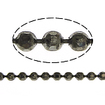 Brass Ball Chain, plumbum black color plated, faceted, nickel, lead & cadmium free, 1.20mm, Length:100 , Sold By Lot