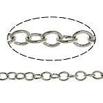 Brass Oval Chain, platinum color plated, nickel, lead & cadmium free, 2x1.60x0.30mm, Length:100 m, Sold By Lot