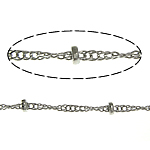 Brass Rope Chain, platinum color plated, nickel, lead & cadmium free, 2.5x1mm, 1.5mm, Length:100 m, Sold By Lot