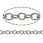 Brass Oval Chain, platinum color plated, nickel, lead & cadmium free, 2.30x2x0.30mm, Length:100 m, Sold By Lot