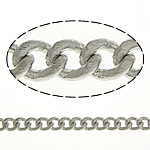 Brass Curb Chain platinum color plated nickel lead   cadmium free 2.50x2x0.50mm Length:100 m