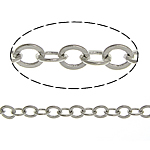 Brass Oval Chain, platinum color plated, nickel, lead & cadmium free, 2.50x3x0.30mm, Length:100 m, Sold By Lot