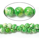 Rain Flower Stone Beads, Round, green, 14mm, Hole:Approx 1.2-1.4mm, Length:Approx 15 Inch, 5Strands/Lot, 27PCs/Strand, Sold By Lot