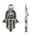 Zinklegering Hamsa Hangers, Zinc Alloy, antiek zilver plated, Joodse Jewelry & Islam sieraden & Imitatie Antieke, nikkel, lood en cadmium vrij, 12x20x3mm, Gat:Ca 0.5mm, Ca 820pC's/KG, Verkocht door KG