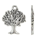 Zinc Alloy Pendants, Tree, antique silver color plated, Imitation Antique, nickel, lead & cadmium free, 17x22x2mm, Hole:Approx 2mm, 600PC/KG, Sold By KG