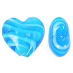 Wewnętrznie skręcone koraliki szklane, Lampwork, Serce, niebieski, 28x26x14mm, otwór:około 2mm, 100komputery/torba, sprzedane przez torba