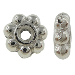 Zinc Alloy Spacer Beads, flower, 7-petal, silver color, nickel, lead & cadmium free, 5x2mm, Hole:Approx 0.5mm, approx 6666PCs/KG, Sold by KG