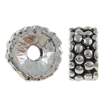 Zinc Alloy Spacer Beads, tube, antique silver color, nickel, lead & cadmium free, 7x3.5mm, Hole:Approx 2mm , about 909pcs/KG , Sold by KG