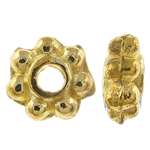 Zinc Alloy Spacer Beads, flower, 7-petal, gold color, nickel, lead & cadmium free, 4.5x2mm, Hole:Approx 1.5mm, approx 10000PCs/KG, Sold by KG