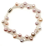 Freshwater Cultured Pearl Bracelet, Freshwater Pearl, with Glass, brass magnetic clasp, 5-6mm, Sold Per Approx 7.5 Inch Strand