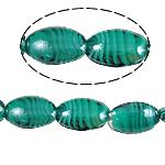 Wewnętrznie skręcone koraliki szklane, Lampwork, Owal, zielony, 18x25x10mm, otwór:około 2mm, 100komputery/torba, sprzedane przez torba