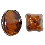 Wewnętrznie skręcone koraliki szklane, Lampwork, Owal, brązowy, 12x17mm, otwór:około 2mm, 100komputery/torba, sprzedane przez torba