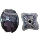 Wewnętrznie skręcone koraliki szklane, Lampwork, Owal, fioletowy, 12x17mm, otwór:około 2mm, 100komputery/torba, sprzedane przez torba