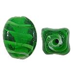 Wewnętrznie skręcone koraliki szklane, Lampwork, Owal, zielony, 12x17mm, otwór:około 2mm, 100komputery/torba, sprzedane przez torba