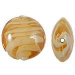 Wewnętrznie skręcone koraliki szklane, Lampwork, Owal, pomarańczowy, 15x8mm, otwór:około 2mm, 100komputery/torba, sprzedane przez torba