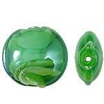 Wewnętrznie skręcone koraliki szklane, Lampwork, Płaskie koło, zielony, 15x8mm, otwór:około 2mm, 100komputery/torba, sprzedane przez torba