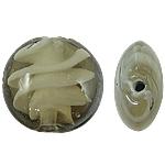 Wewnętrznie skręcone koraliki szklane, Lampwork, Płaskie koło, 15x8mm, otwór:około 2mm, 100komputery/torba, sprzedane przez torba