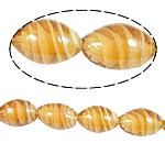 Wewnętrznie skręcone koraliki szklane, Lampwork, Owal, pomarańczowy, 11x18mm, otwór:około 1.5mm, 100komputery/torba, sprzedane przez torba
