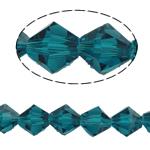 Bicone Crystal Beads, Kristal, gefacetteerde, Emerald, 8x8mm, Gat:Ca 0.8-1.2mm, Lengte:12 inch, 10strengen/Bag, Verkocht door Bag