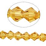 Symetryczne kryształowe koraliki, Kryształ, Podwójny stożek, fasetowany, słoneczny, 6x6mm, otwór:około 0.8-1.2mm, długość:około 10.5 cal, 10nici/torba, około 50komputery/Strand, sprzedane przez torba