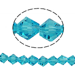 Bicone Crystal Beads, Kristal, gefacetteerde, Aquamarijn, 6x6mm, Gat:Ca 1mm, Lengte:10.5 inch, 10/