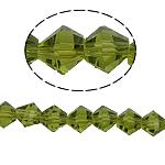 Bicone Crystal Beads, Kristal, gefacetteerde, Olivijn, 6x6mm, Gat:Ca 1mm, Lengte:10.5 inch, 10strengen/Bag, Verkocht door Bag