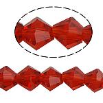 Bicone Crystal Beads, Kristal, gefacetteerde, Siam, 6x6mm, Gat:Ca 0.8-1.2mm, Lengte:10.5 inch, 10strengen/Bag, Verkocht door Bag