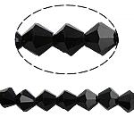 Bicone Crystal Beads, Kristal, gefacetteerde, Jet, 6x6mm, Gat:Ca 0.8-1.2mm, Lengte:10.5 inch, 10strengen/Bag, Verkocht door Bag