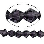 Symetryczne kryształowe koraliki, Kryształ, Podwójny stożek, fasetowany, fiolet, 8x8mm, otwór:około 1.5mm, długość:12.5 cal, 10nici/torba, sprzedane przez torba