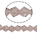 Symetryczne kryształowe koraliki, Kryształ, Podwójny stożek, fasetowany, vintage róż, 6x6mm, otwór:około 0.8-1.2mm, długość:10.5 cal, 10nici/torba, sprzedane przez torba