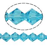 Bicone Crystal Beads, Kristal, gefacetteerde, Aquamarijn, 8x8mm, Gat:Ca 1.5mm, Lengte:10.5 inch, 10strengen/Bag, Verkocht door Bag