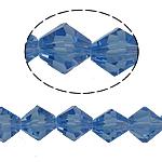 Bicone Crystal Beads, Kristal, gefacetteerde, Lt Sapphire, 8x8mm, Gat:Ca 1.5mm, Lengte:10.5 inch, 10strengen/Bag, Verkocht door Bag
