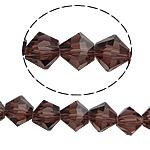 Symetryczne kryształowe koraliki, Kryształ, Podwójny stożek, fasetowany, przydymiony kwarc, 8x8mm, otwór:około 1.5mm, długość:10.5 cal, 10nici/torba, sprzedane przez torba