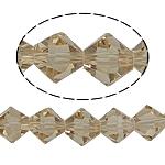 Symetryczne kryształowe koraliki, Kryształ, Podwójny stożek, fasetowany, srebrny szampan, 8x8mm, otwór:około 1.5mm, długość:10.5 cal, 10nici/torba, sprzedane przez torba