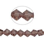 Symetryczne kryształowe koraliki, Kryształ, Podwójny stożek, fasetowany, jasnoametystowy, 6x6mm, otwór:około 1mm, długość:12.5 cal, 10nici/torba, sprzedane przez torba