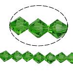 Symetryczne kryształowe koraliki, Kryształ, Podwójny stożek, fasetowany, zieleń paproci, 8x8mm, otwór:około 1.5mm, długość:10.5 cal, 10nici/torba, sprzedane przez torba