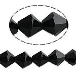 Bicone Crystal Beads, Kristal, gefacetteerde, Jet, 8x8mm, Gat:Ca 1mm, Lengte:10.5 inch, 10strengen/Bag, Verkocht door Bag