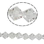 Bicone Crystal Beads, Kristal, gefacetteerde, Kristal, 8x7mm, Gat:Ca 1mm, Lengte:10.5 inch, 10strengen/Bag, Verkocht door Bag