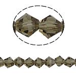 Bicone Crystal Beads, Kristal, gefacetteerde, Greige, 6x6mm, Gat:Ca 1mm, Lengte:12.5 inch, 10strengen/Bag, Verkocht door Bag