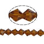 Symetryczne kryształowe koraliki, Kryształ, Podwójny stożek, fasetowany, przydymiony topaz, 6x6mm, otwór:około 1mm, długość:12.5 cal, 10nici/torba, sprzedane przez torba