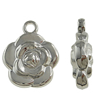 Copper Coated Plastic Pendant, Flower, platinum color plated, nickel, lead & cadmium free, 21x26x8mm, Hole:Approx 3mm, 5Bags/Lot, 200/Bag, Sold By Lot