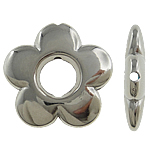 Copper Coated Plastic Beads, Flower, platinum color plated, nickel, lead & cadmium free, 20x3.50mm, Hole:Approx 0.5mm, 5Bags/Lot, 200PCs/Bag, Sold By Lot