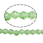 Bicone Crystal Beads, Kristal, gefacetteerde, Peridot, 5x5mm, Gat:Ca 0.5mm, Lengte:11.5 inch, 10strengen/Bag, Verkocht door Bag