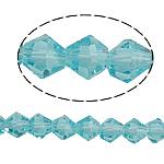 Symetryczne kryształowe koraliki, Kryształ, Podwójny stożek, fasetowany, jasny szafir, 5x5mm, otwór:około 0.8-1.2mm, długość:11.5 cal, 10nici/torba, sprzedane przez torba
