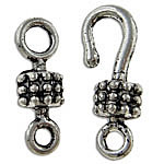 Zinc Alloy Hook and Eye Clasp, antique silver color plated, lead & cadmium free, 6x17x5mm, 15x4.5mm, Hole:Approx 2.5mm, 100Sets/Bag, Sold By Bag