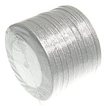 Sparkle Ribbon, silver, 6mm, Length:250 Yard, 10PCs/Lot, Sold By Lot