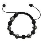 Zinc Alloy Shamballa Bracelets, with Wax & Crystal, with rhinestone, nickel, lead & cadmium free, 10mm, Sold Per 7 Inch Strand